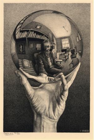 Hand with a Reflecting Sphere (Mano con esfera reflejante), 1935