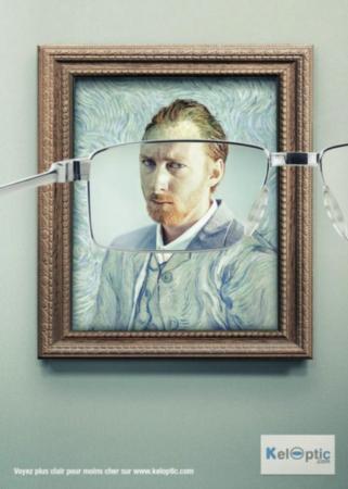 Un anuncio del fabricante de gafas frances, Keloptic con un autoretrato del impresionista holandés Vincent Van Gogh