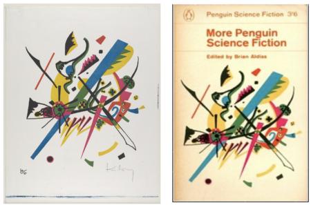 A la izquierda, la obra de uno de los precursores del arte abstracto, Vasili Kandinski, titulada Small Worlds I (Kleine Welten I) y, a la derecha, una antología de historias de ciencia ficción ilustrada con la misma obra.